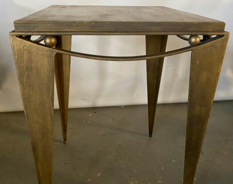 European Contemporary Wrought Iron Gold Tone Modern Side Table For Sale