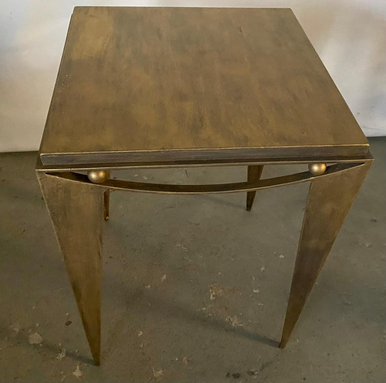 Contemporary Wrought Iron Gold Tone Modern Side Table In Good Condition For Sale In Great Barrington, MA