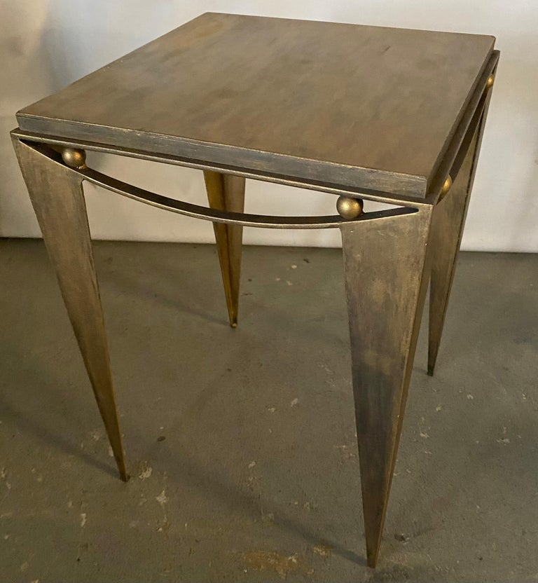 20th Century Contemporary Wrought Iron Gold Tone Modern Side Table For Sale