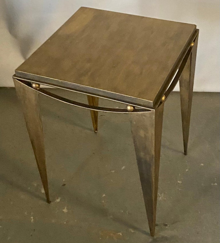 Contemporary Wrought Iron Gold Tone Modern Side Table For Sale 1