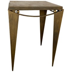 Contemporary Wrought Iron Gold Tone Modern Side Table