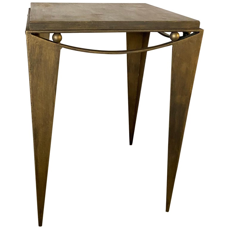 Contemporary Wrought Iron Gold Tone Modern Side Table For Sale