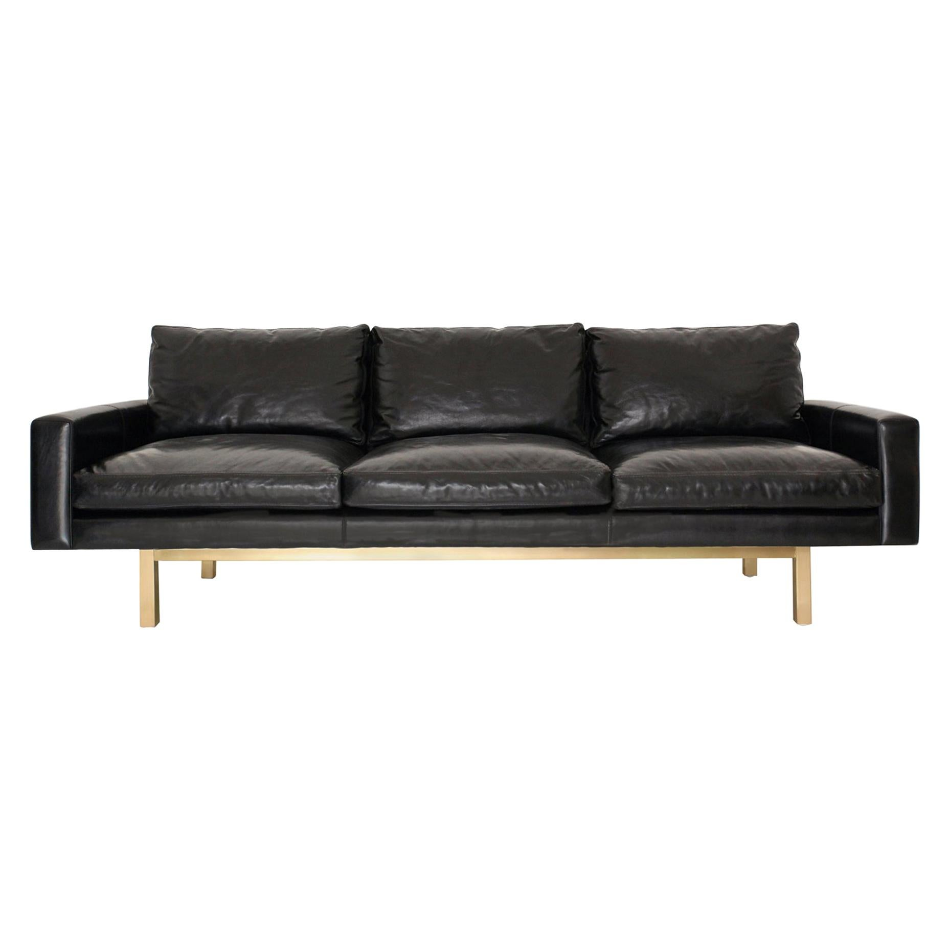 Contemporary X-Large Standard Sofa in Black Leather with Brass Base