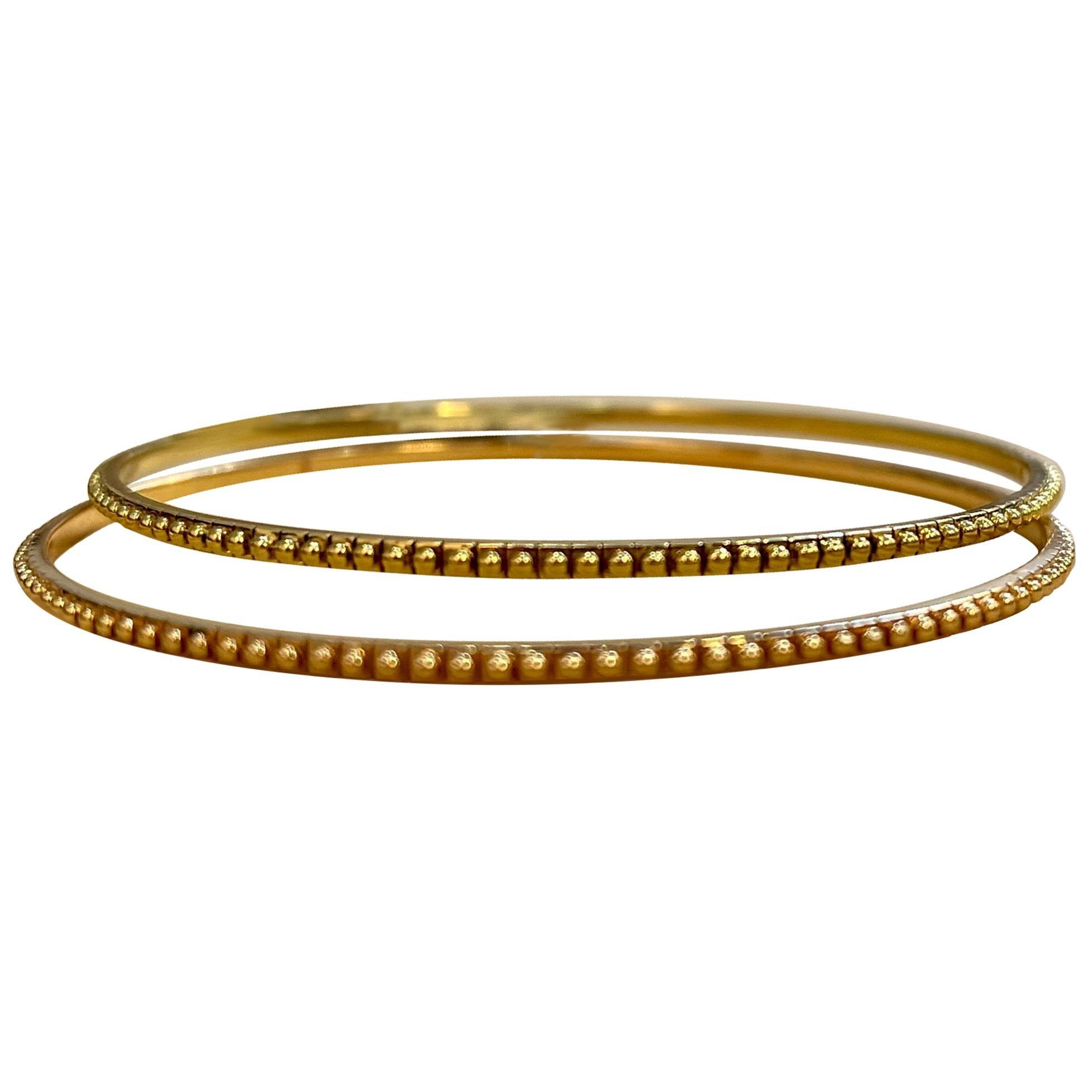 Contemporary Yellow and Rose Gold 18 Karat Gold Bangle Bracelet