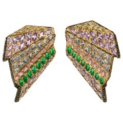 Contemporary Marquise Cut Multi-Color Gemstone Earrings in Yellow Gold