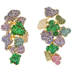 "Contemporary Yellow Gold ""Flower"" Earrings with Diamonds, Sapphires and Emeralds"