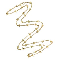 Contemporary Yellow Gold Star Motif Chain Necklace