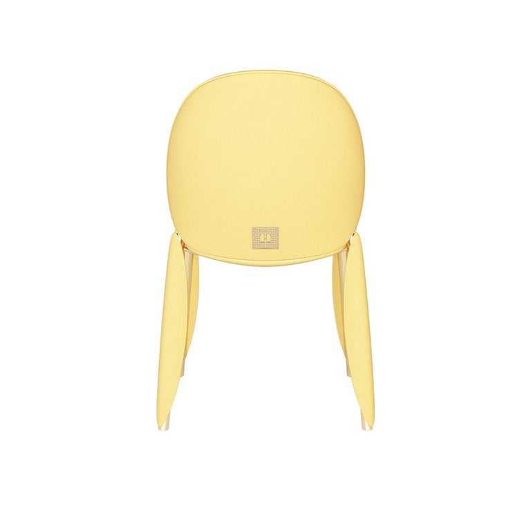 Modern Contemporary Minimal Yellow Velvet Dining Chair in Gold Polished Stainless Steel For Sale