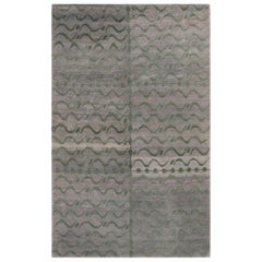 Contemporary Youngste Design Silver-Gray and Green Wool Rug