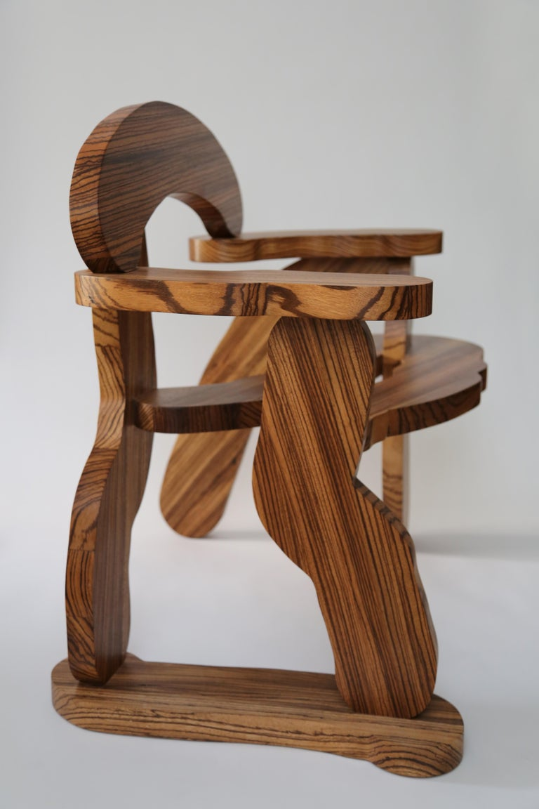Contemporary Zebrano Wood Armchair by Soft Baroque For Sale 7