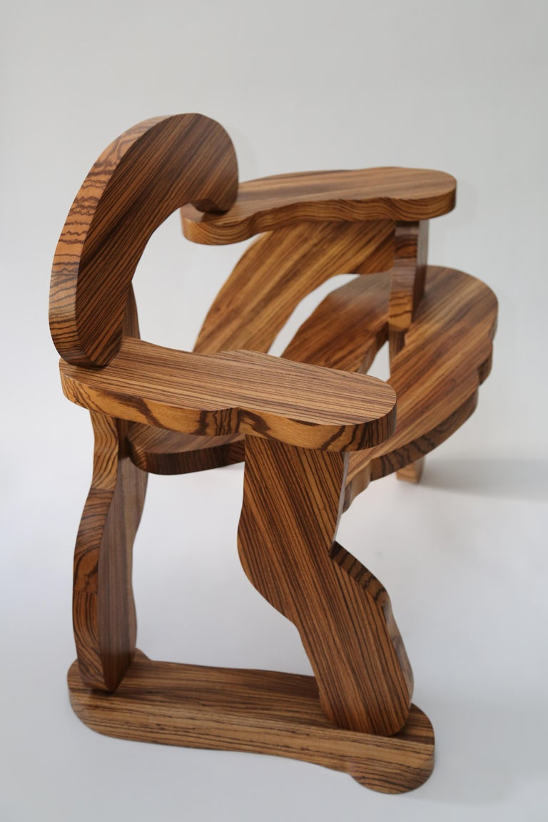 Contemporary Zebrano Wood Armchair by Soft Baroque For Sale 9
