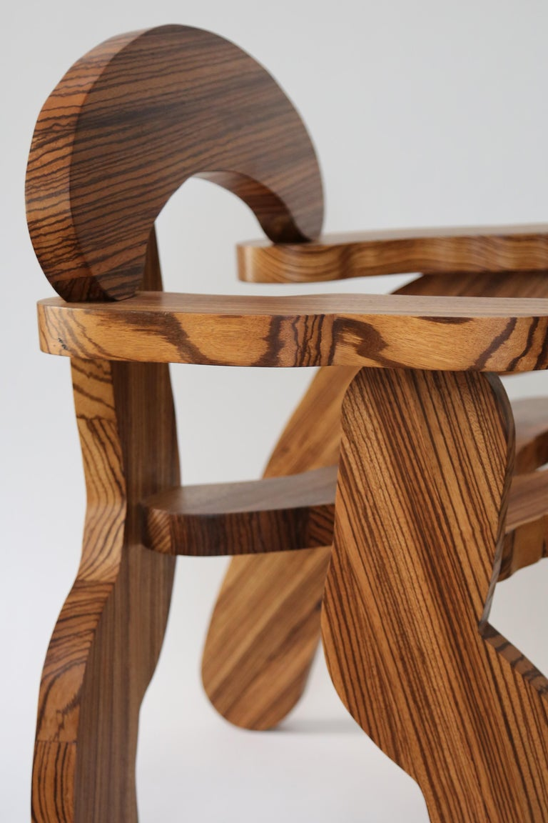 Post-Modern Contemporary Zebrano Wood Armchair by Soft Baroque For Sale
