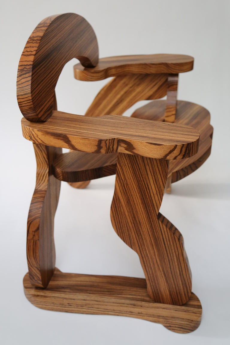 British Contemporary Zebrano Wood Armchair by Soft Baroque For Sale