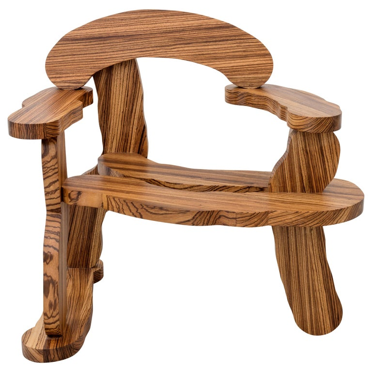Contemporary Zebrano Wood Armchair by Soft Baroque For Sale
