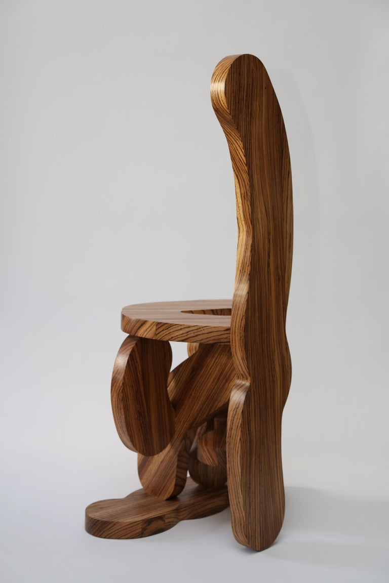 British Contemporary Zebrano Wood Chair by Soft Baroque For Sale