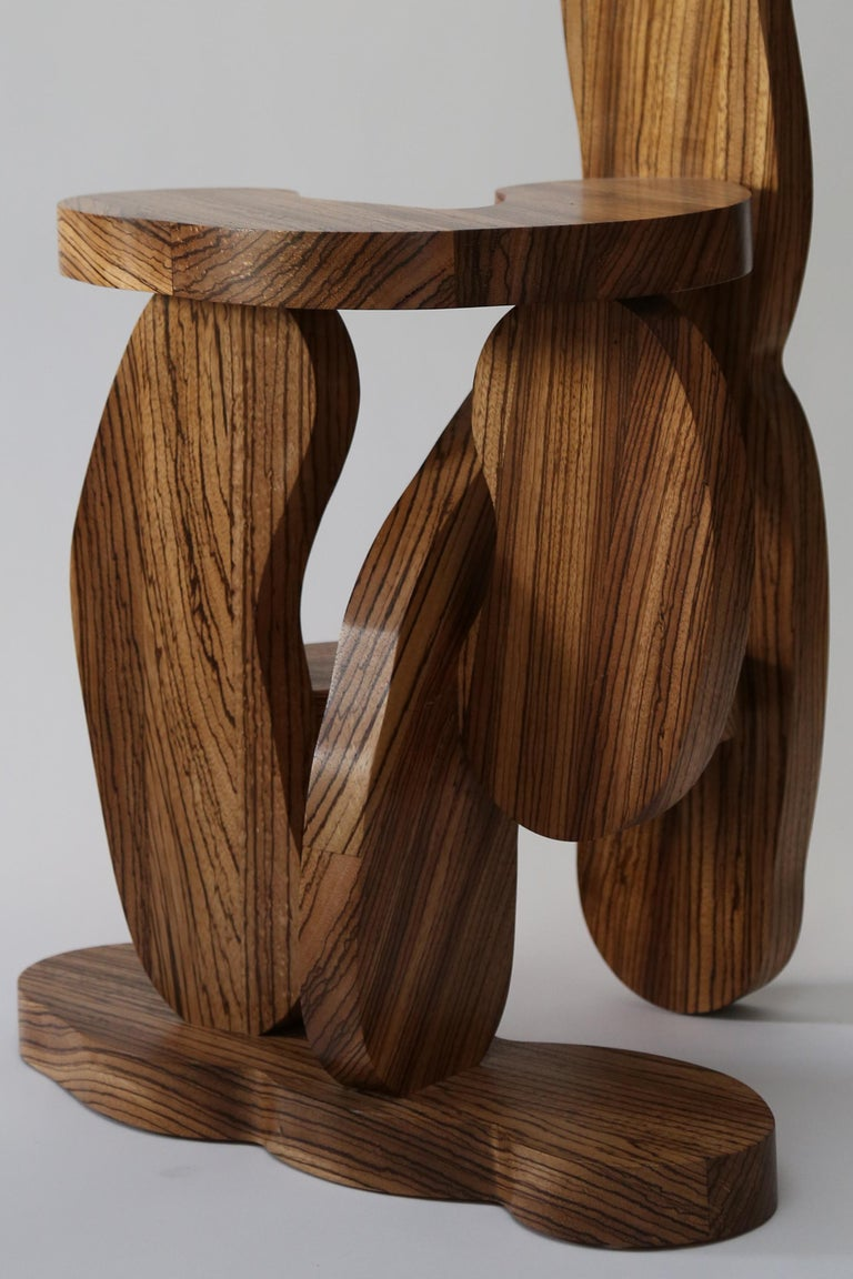 Contemporary Zebrano Wood Chair by Soft Baroque In New Condition For Sale In Copenhagen, DK
