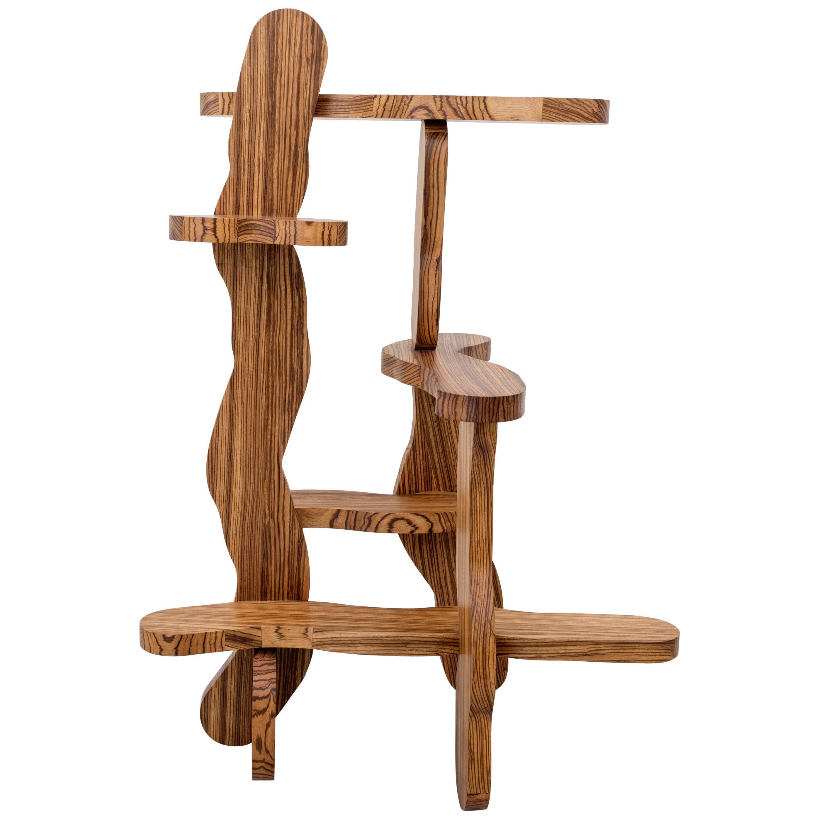 Contemporary Zebrano Wood Shelf by Soft Baroque