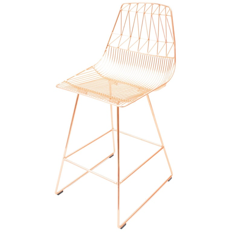 Modern Minimalist Wire Stick Bar Stool With Wooden Seat