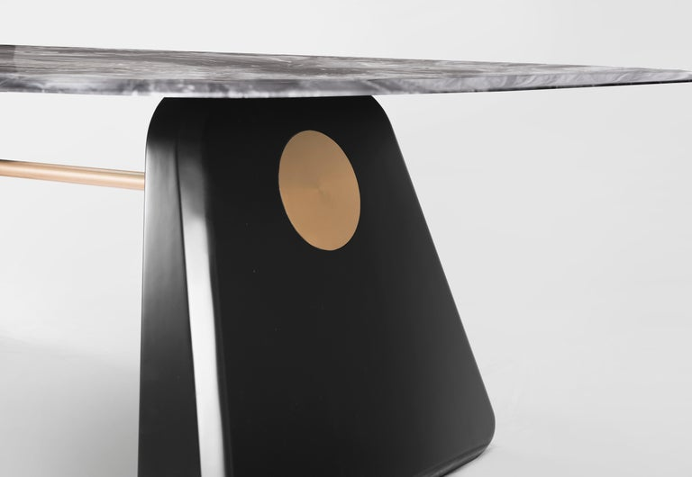 Italian Contemporary Dining Table Henge, Marble and Wood 'Customizable' For Sale