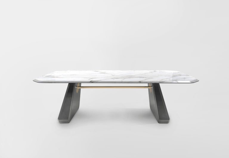 Contemporary Dining Table Henge, Marble and Wood 'Customizable' In New Condition For Sale In Paris, FR