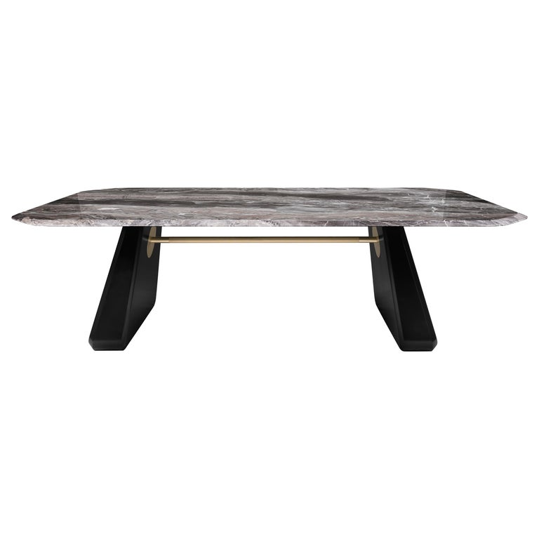 Contemporary Dining Table Henge, Marble and Wood 'Customizable' For Sale