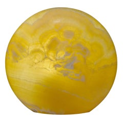 Contemporay Natural Yellow Onyx Table Top Lamp