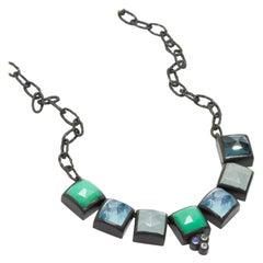 Contemprary Gemstone Oxidized Necklace