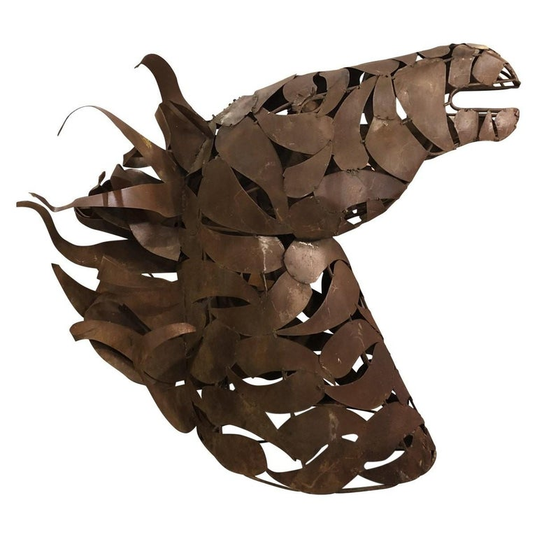 Contemporary Modern Oxidized Horse Late-20th Century Steel For Sale 2