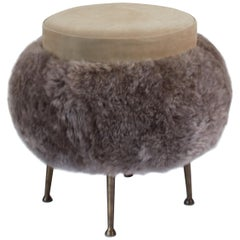 Contemproarary French Bespoke Stool with Taupe suede & Long Haired Scandavnaian