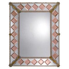 Conterie Pink Squares Murano Glass Mirror