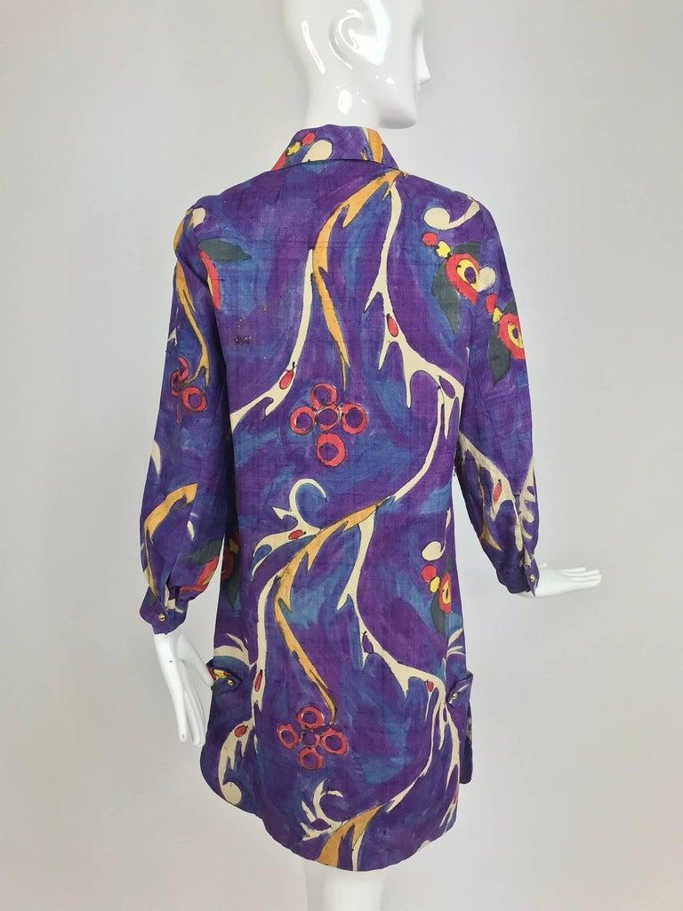 Contessa Hong Kong hand painted raw silk shirt dress  1960s  For Sale 5
