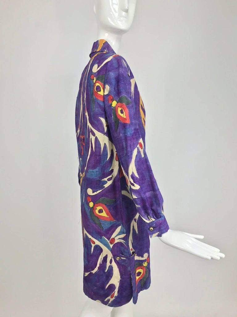 Contessa Hong Kong hand painted raw silk shirt dress  1960s  For Sale 8