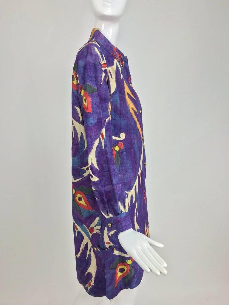 Contessa Hong Kong hand painted raw silk shirt dress  1960s  For Sale 9