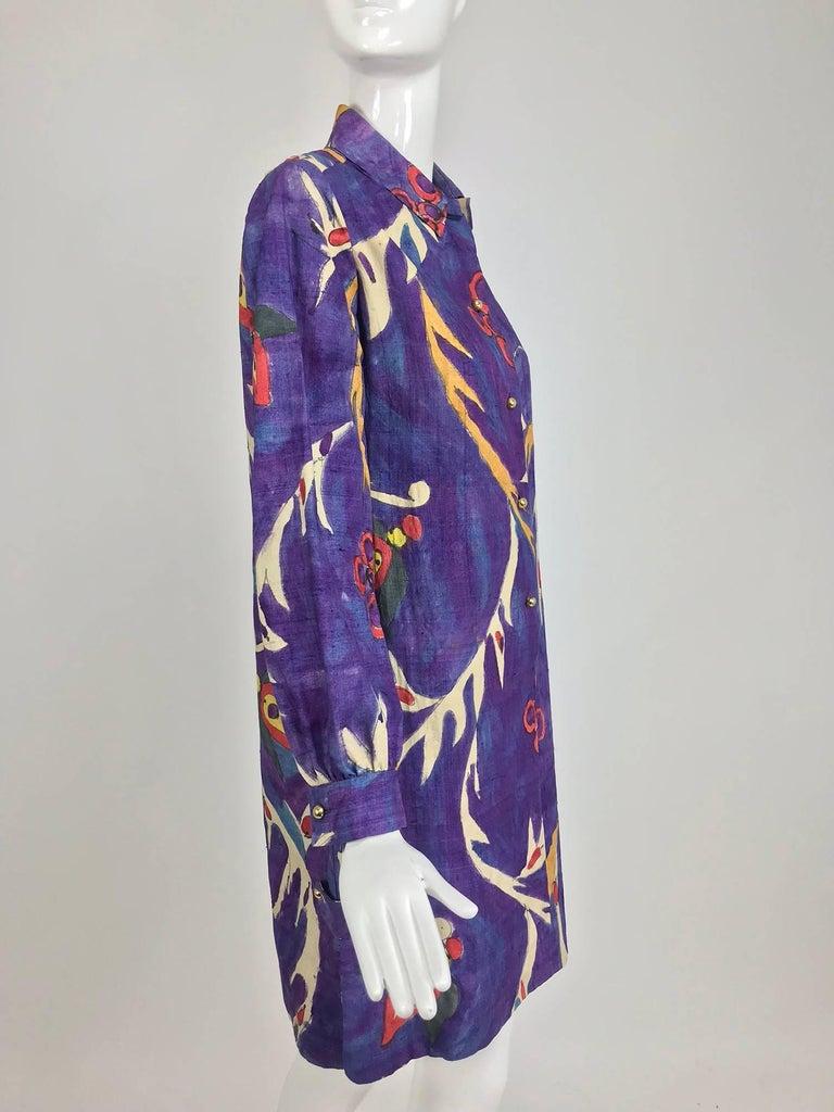 Contessa Hong Kong hand painted raw silk shirt dress  1960s  For Sale 10