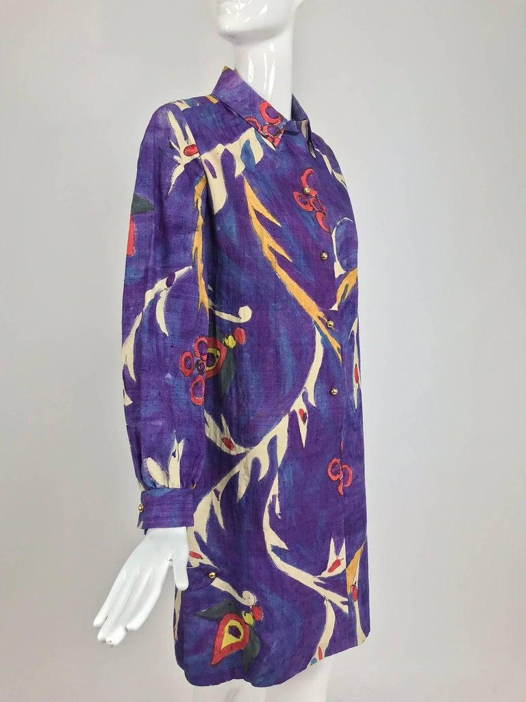 Contessa Hong Kong hand painted raw silk shirt dress  1960s  For Sale 11
