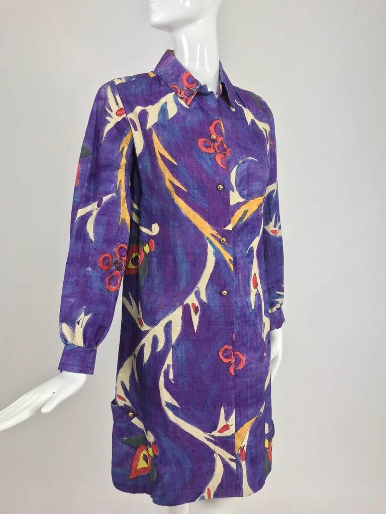 Contessa Hong Kong hand painted raw silk shirt dress  1960s  For Sale 12
