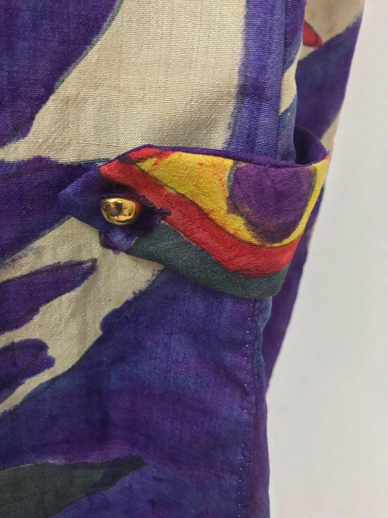 Contessa Hong Kong hand painted raw silk shirt dress  1960s  For Sale 13