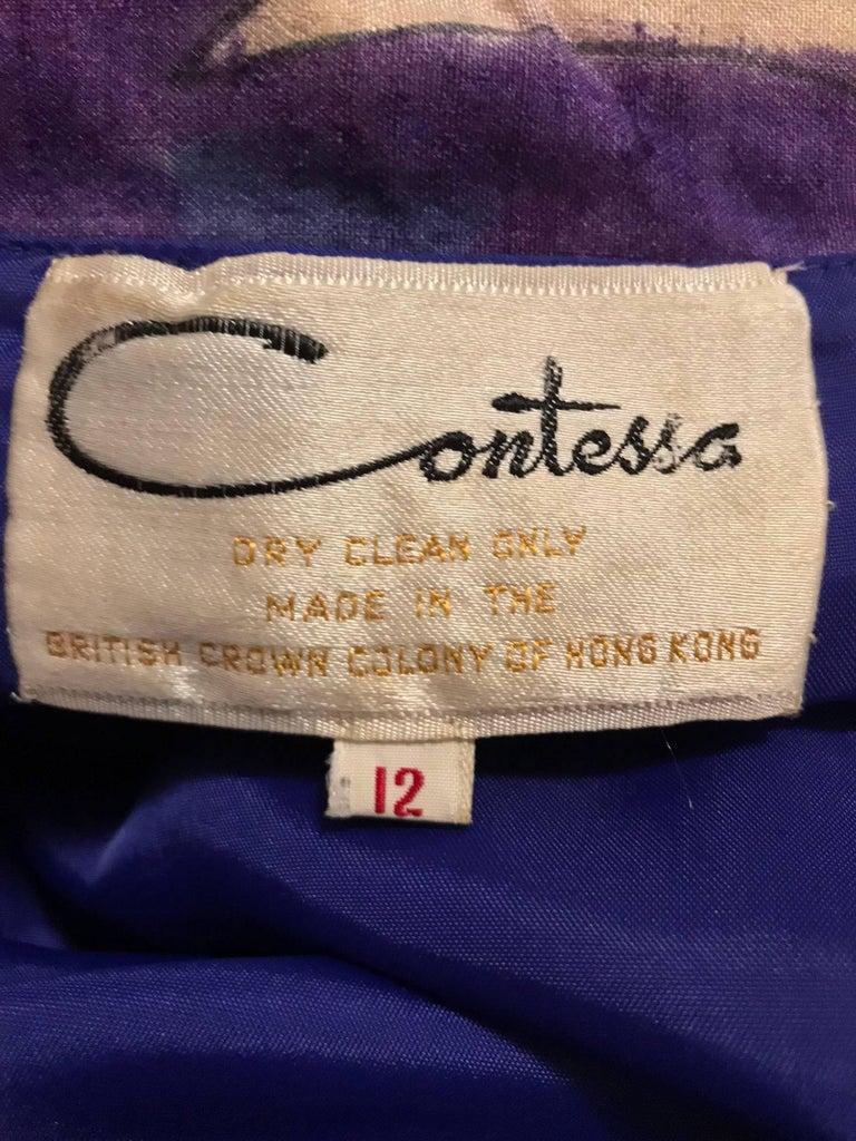Contessa Hong Kong hand painted raw silk shirt dress  1960s  For Sale 14