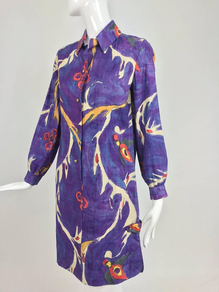Contessa, Hong Kong hand painted raw silk shirt dress from the 1960s. Modernist design in vivid colours, the design is hand done and has irregularities and splotches of colour here and there, the silk is medium weight with the nubby texture raw silk