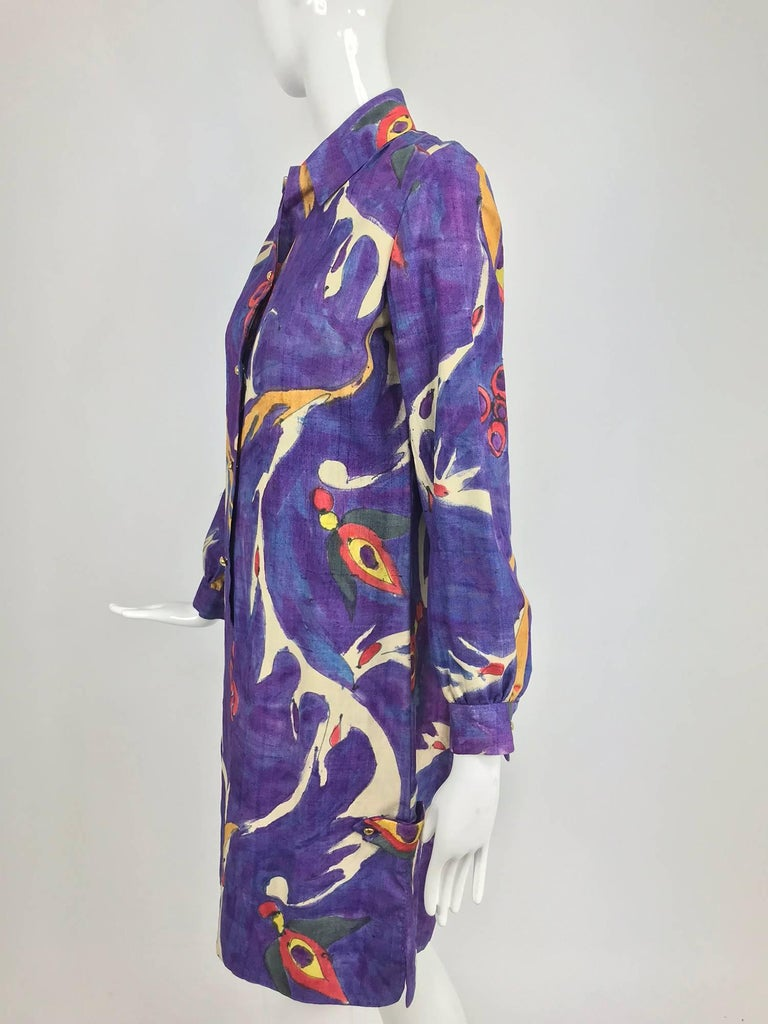 Contessa Hong Kong hand painted raw silk shirt dress  1960s  In Excellent Condition For Sale In West Palm Beach, FL