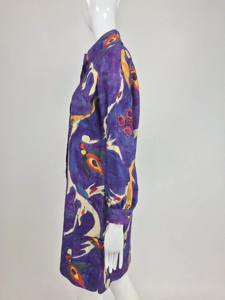 Women's Contessa Hong Kong hand painted raw silk shirt dress  1960s  For Sale