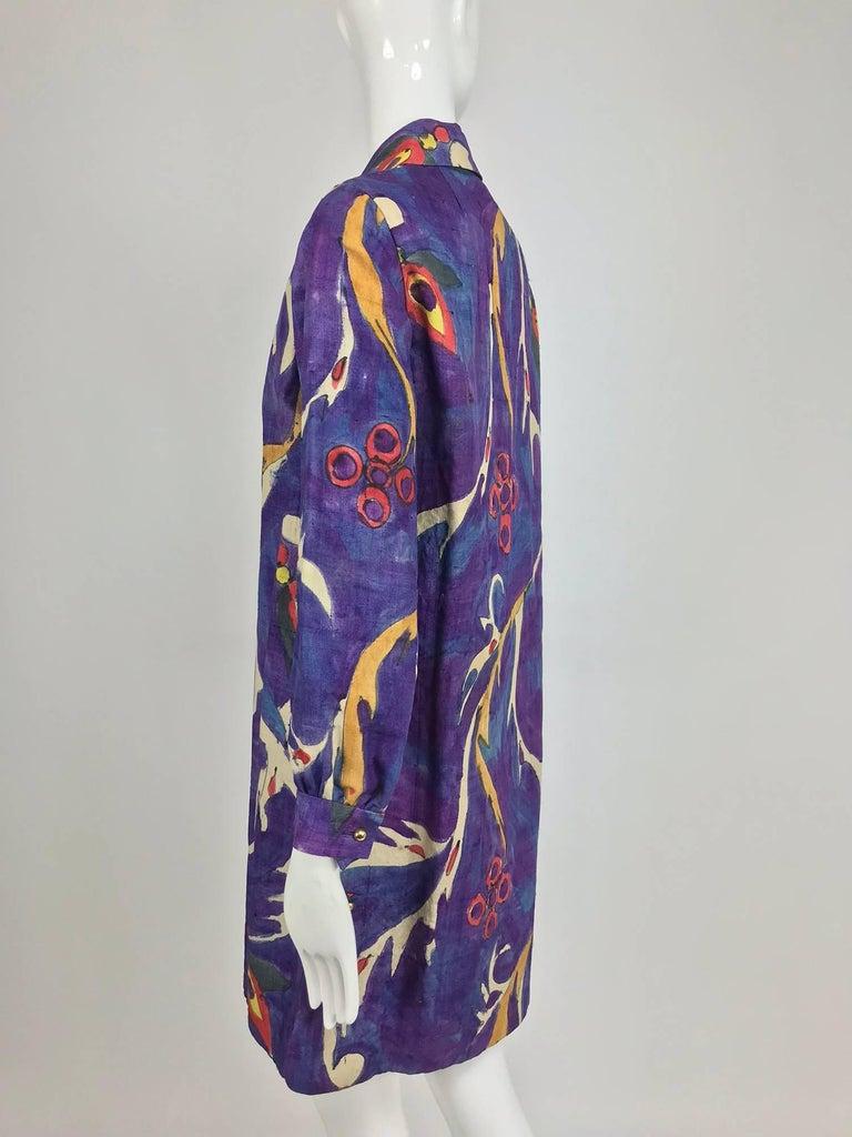 Contessa Hong Kong hand painted raw silk shirt dress  1960s  For Sale 1