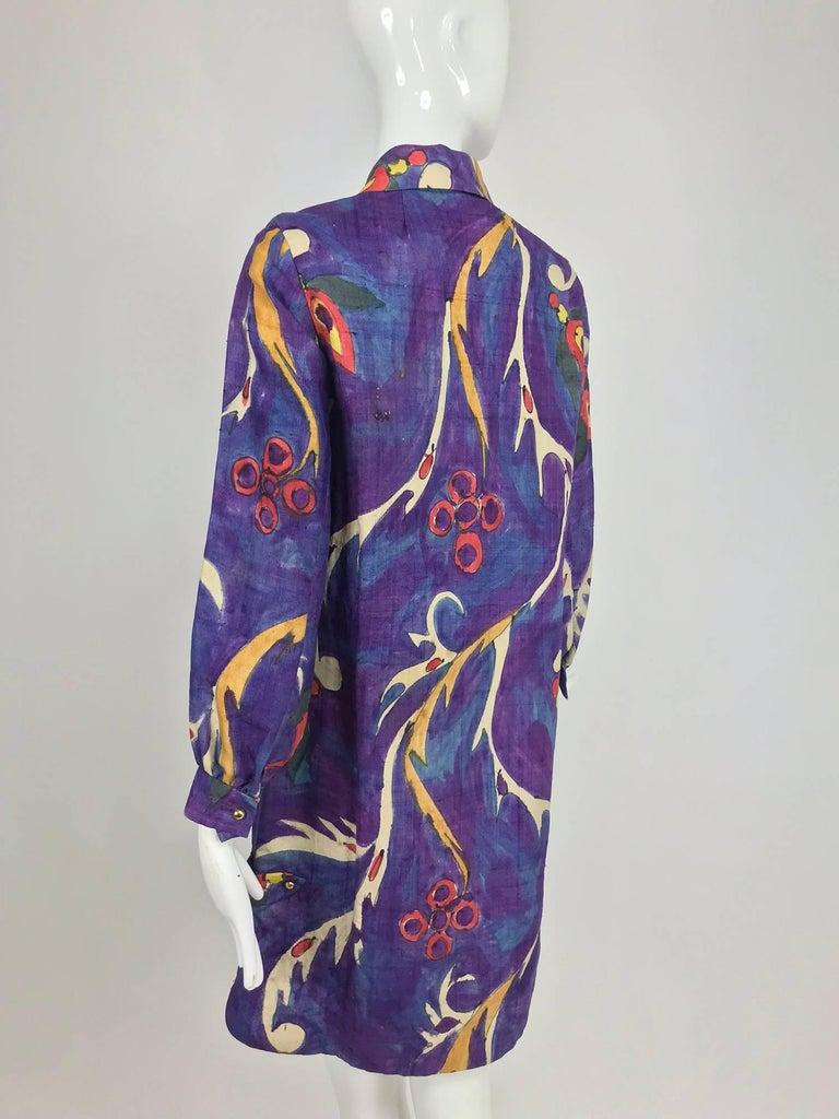 Contessa Hong Kong hand painted raw silk shirt dress  1960s  For Sale 3