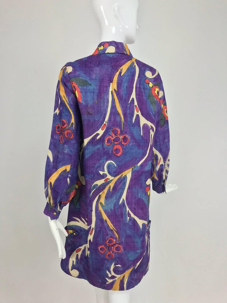 Contessa Hong Kong hand painted raw silk shirt dress  1960s  For Sale 4