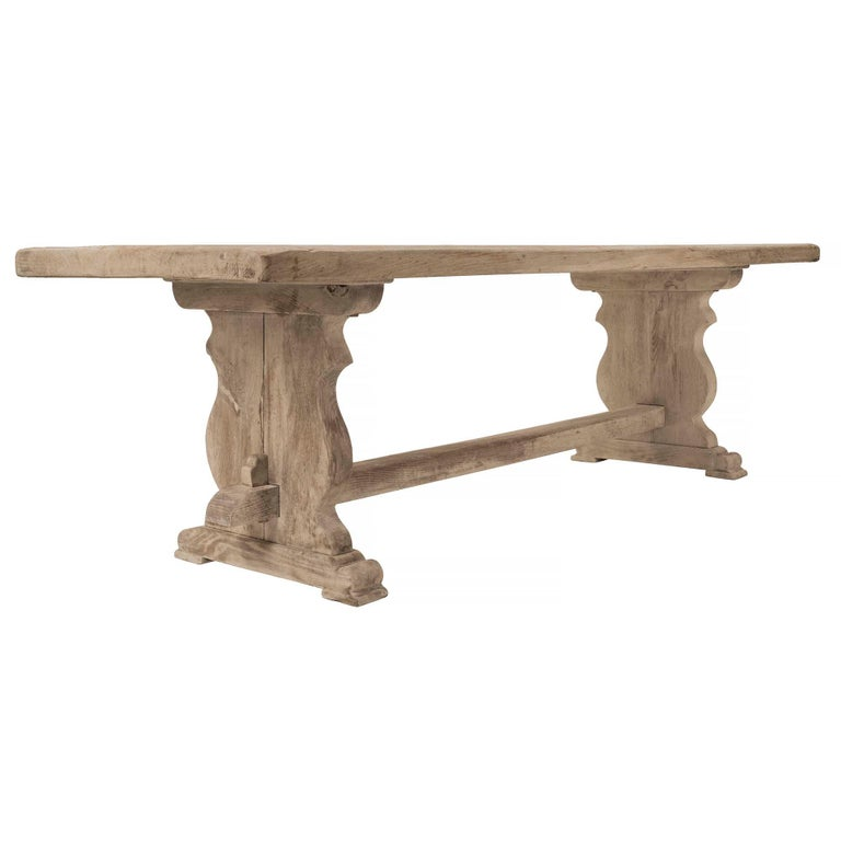 A Striking And Most Charming Continental 18th Century Sun Bleached Beachwood Trestle Table The