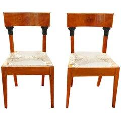 Continental 19th Century Biedermeier Pair of Side Chairs in Wavy Birch