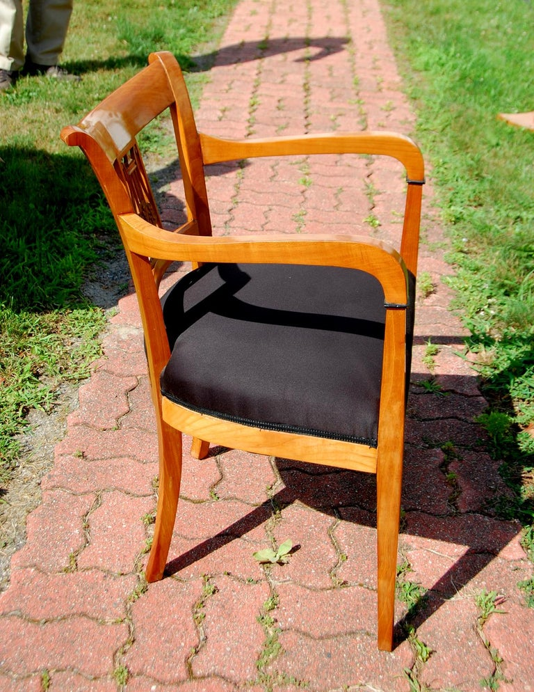 Continental 19th Century Cherry Biedermeier Armchair with Carved Lyre Back In Good Condition For Sale In Wells, ME