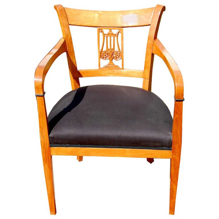 Continental 19th Century Cherry Biedermeier Armchair with Carved Lyre Back For Sale