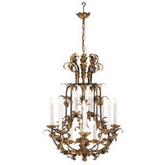 Continental 19th Century Louis XV St. Patinated and Gilt Metal Chandelier