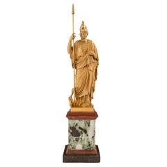 Continental 19th Century Neoclassical St. Ormolu and Marble Statue of Athena